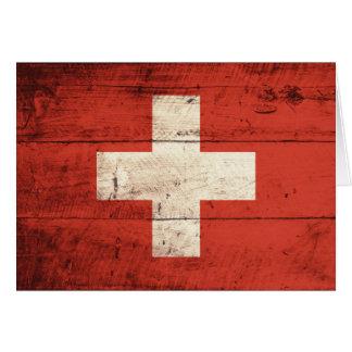 Alte hölzerne Schweizer Flagge Karte