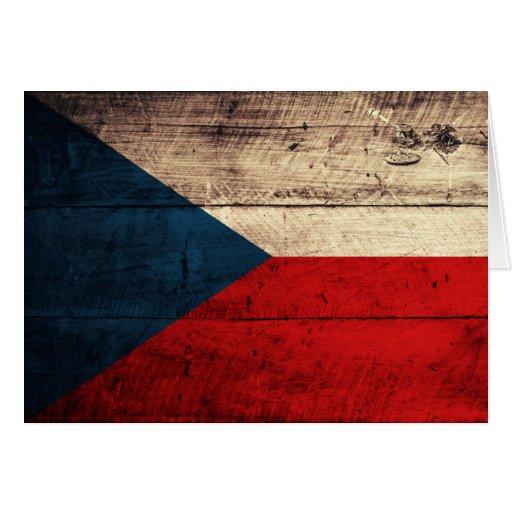 Alte hölzerne tschechische Flagge Grußkarten