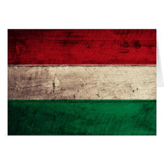 Alte hölzerne Ungarn-Flagge Mitteilungskarte