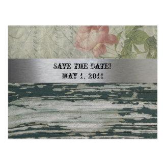 Alte hölzerne Vintage Franzosen Save the Date Postkarte
