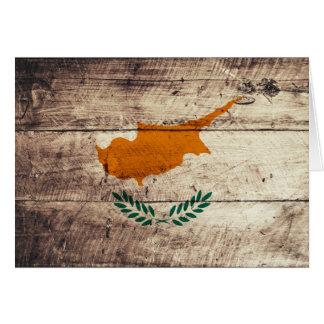 Alte hölzerne Zypern-Flagge Grußkarten