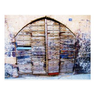 Alte Holztür in Chania Kreta, Griechenland Postkarte