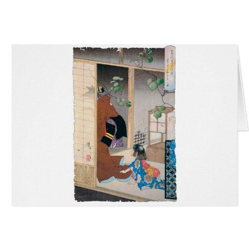 Alte japanische Dämon-Malerei Grußkarten