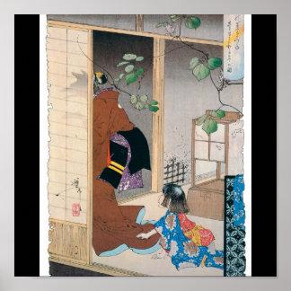 Alte japanische Dämon-Malerei Poster