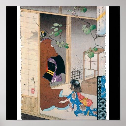 Alte japanische Dämon-Malerei Plakatdruck