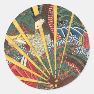 Alte japanische Drache-Malerei circa 1860's Runder Aufkleber
