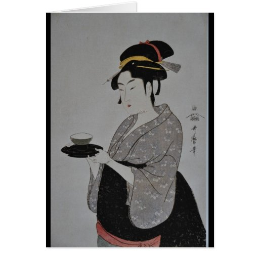 Alte japanische Malerei circa 1793 Grußkarten