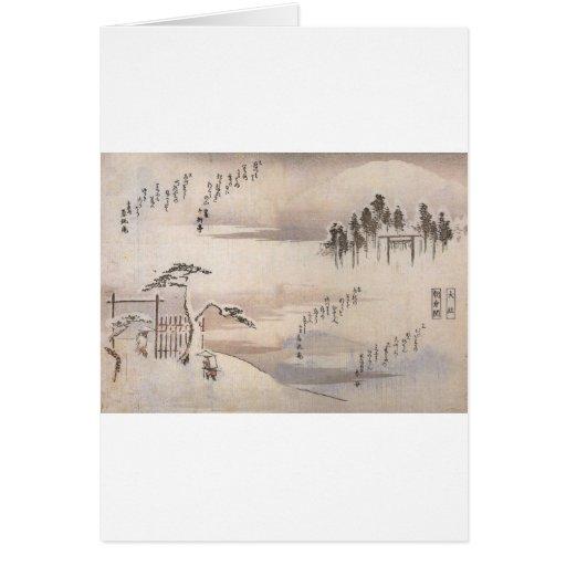 Alte japanische Malerei circa 1800's Grußkarten