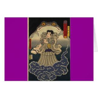 Alte japanische Malerei der riesigen Kröte Grußkarte