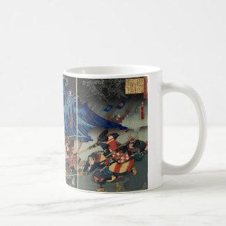 Alte japanische Malerei der Samurais und der Kaffeetasse