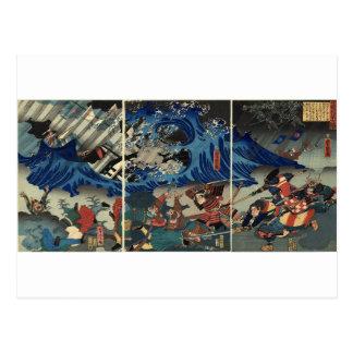 Alte japanische Malerei der Samurais und der Postkarte