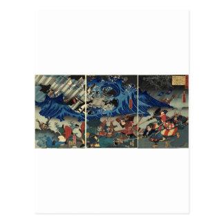 Alte japanische Malerei der Samurais und der Postkarten