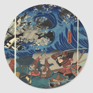 Alte japanische Malerei der Samurais und der Runder Aufkleber