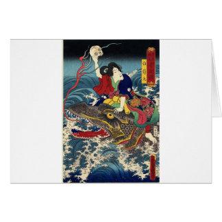 Alte japanische Malerei, japanisches Frauen-Reiten Grußkarte