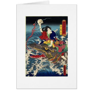 Alte japanische Malerei, japanisches Grußkarte