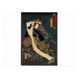 Alte japanische Malerei, Samurai mit Kröte Postkarte