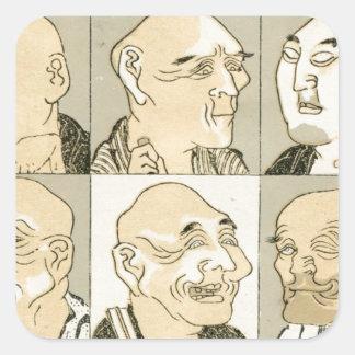 Alte japanische Männer Quadratischer Aufkleber