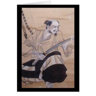 Alte japanische Samurai-Malerei Grußkarte
