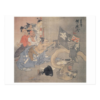 """Alte """"japanischer Dämon-"""" Malerei Postkarte"""