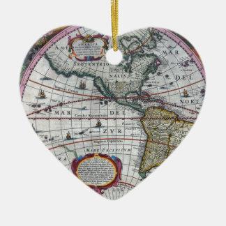 alte Karte Amerika Keramik Herz-Ornament