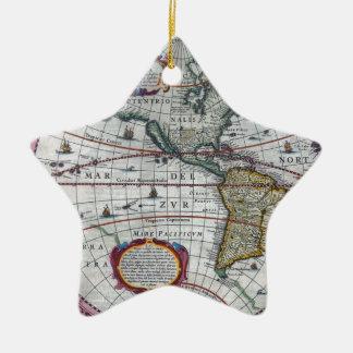 alte Karte Amerika Keramik Stern-Ornament