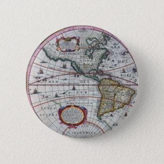 alte Karte Amerika Runder Button 5,1 Cm