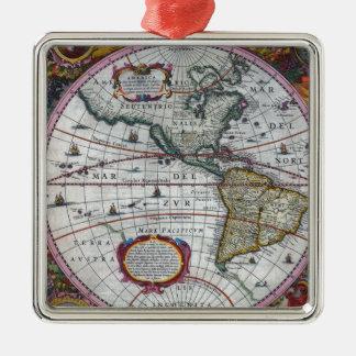 alte Karte Amerika Silbernes Ornament