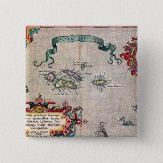 Alte Karte Azoren - Vintage Segeln-Erforschung Quadratischer Button 5,1 Cm