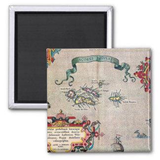 Alte Karte Azoren - Vintage Segeln-Erforschung Quadratischer Magnet