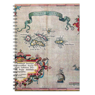Alte Karte Azoren - Vintage Segeln-Erforschung Spiral Notizblock