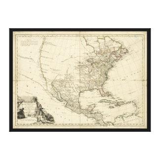 Alte Karte von Nordamerika (1783) Leinwanddruck