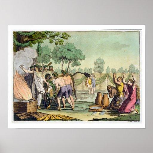 Alte Kelten oder Gauls, die eine Kuh, c.1800-1 opf Poster
