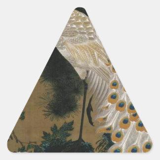 Alte Kiefer und Pfau durch Ito Jakuchu Dreieckiger Aufkleber