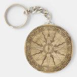 Alte Kompass-Rose Schlüsselanhänger