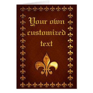 Alte lederne Abdeckung mit goldenem Fleur-De-Lys - Karte