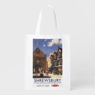 Alte Markt-Hall-Ansicht-britisches Wiederverwendbare Einkaufstaschen