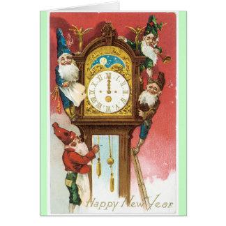 Alte Mode-neue Jahr-Karten-Vintager Entwurf Karte