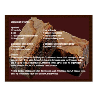 Alte Mode-Schokoladenkuchen-Rezept-Karte Postkarte