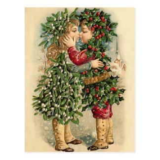 Alte Mode-Stechpalmen-Kinder, die Weihnachten Postkarten