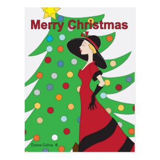Alte Modemädchen Weihnachtspostkarte Postkarten
