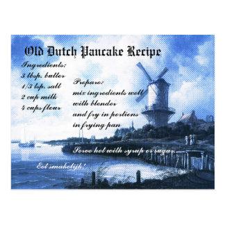 Alte niederländische Pfannkuchen-Rezept-Karte Postkarte