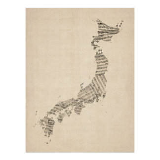 Alte Notenen-Karte von Japan Plakatdruck