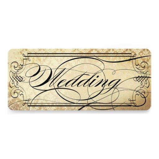 Alte Papierkarte blühen Typografie-Hochzeit Ankündigungen
