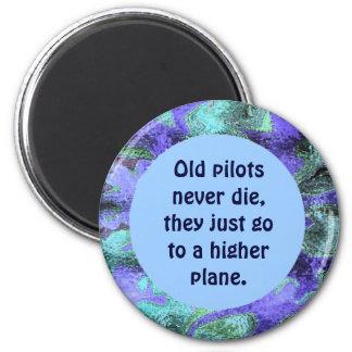 Alte Piloten die nie Witz Runder Magnet 5,1 Cm