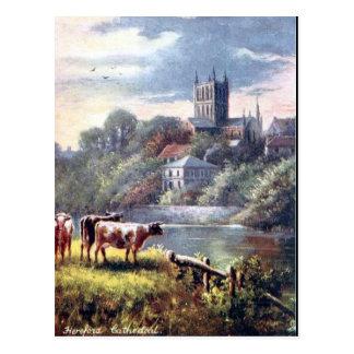 Alte Postkarte - Hereford Kathedrale
