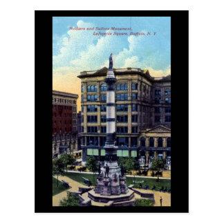 Alte Postkarte - Lafayette-Quadrat, Büffel, NY