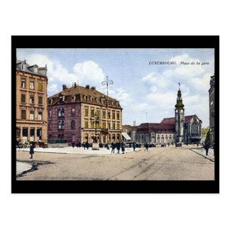 Alte Postkarte - Place de la Gare, Luxemburg