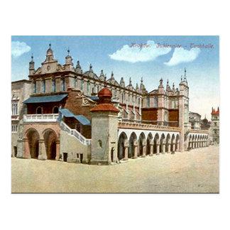 Alte Postkarte - Stoff Hall Krakau Polen