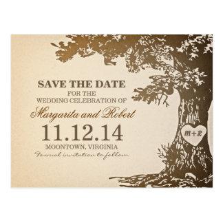 alte Postkarten des Eichenbaums Save the Date