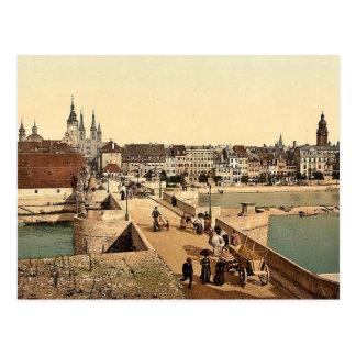 Alte Rhein-Brücke (d.h. alte Hauptbrücke) und Postkarte